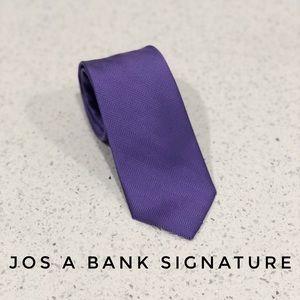 Jos A Bank Signature Purple Skinny Silk Tie EUC